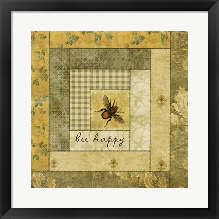 Framed Bee Happy Quilt Print