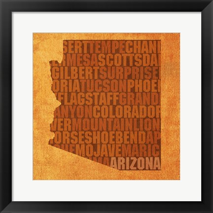 Framed Arizona State Words Print