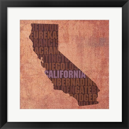 Framed California State Words Print