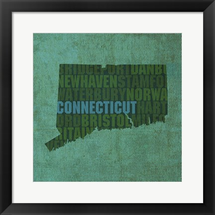 Framed Connecticut State Words Print