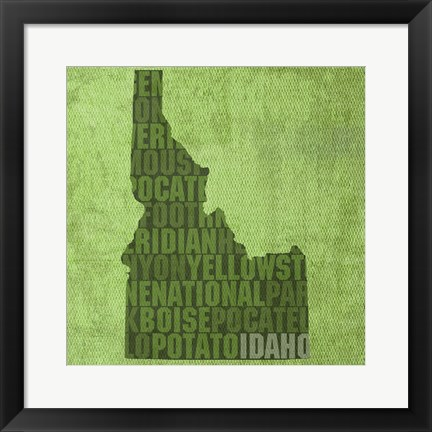 Framed Idaho State Words Print