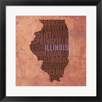 Framed Illinois State Words Print