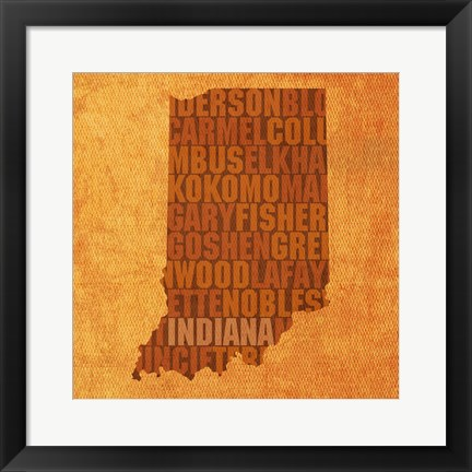 Framed Indiana State Words Print
