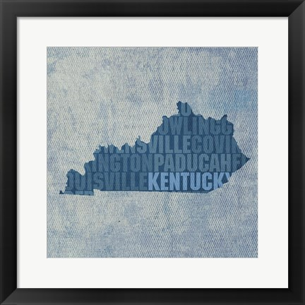 Framed Kentucky State Words Print