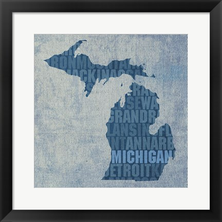 Framed Michigan State Words Print