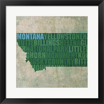 Framed Montana State Words Print