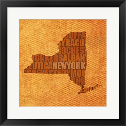 Framed New York State Words Print