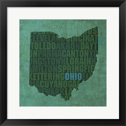 Framed Ohio State Words Print