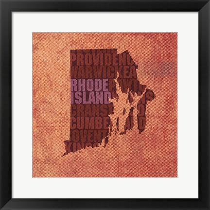Framed Rhode Island State Words Print