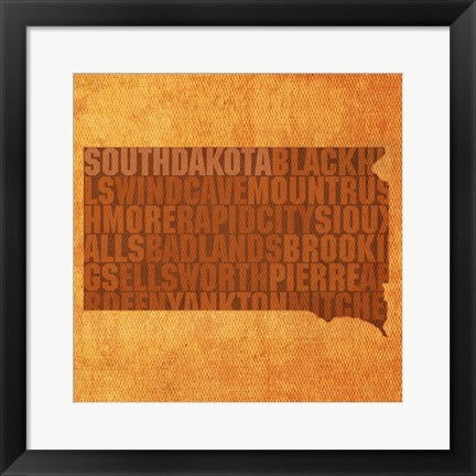 Framed South Dakota State Words Print