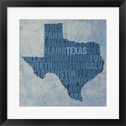 Framed Texas State Words Print
