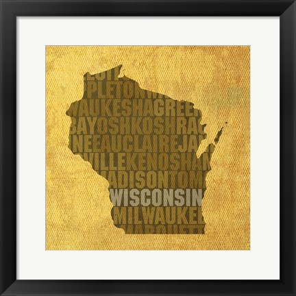 Framed Wisconsin State Words Print