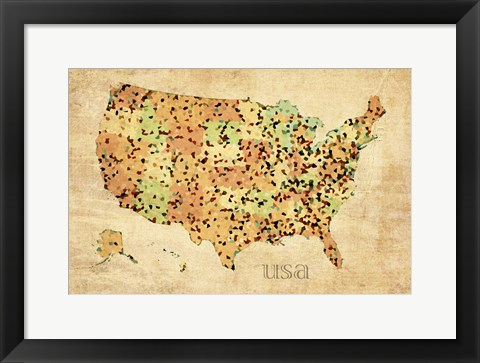 Framed Usa Crystallized County Map Print