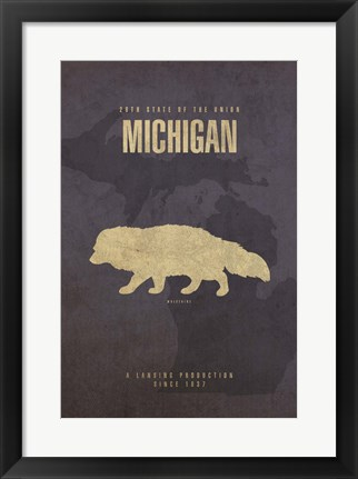 Framed Michigan Poster Print