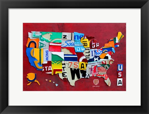 Framed License Plate Map USA III Print