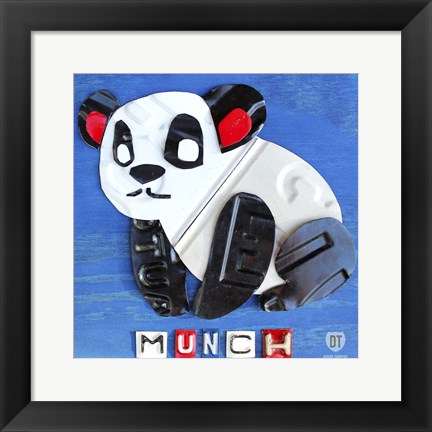 Framed Munch The Panda License Plate Art Print