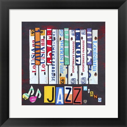 Framed License Plate Art Jazz Series Piano I Print