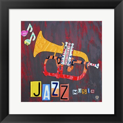 Framed License Plate Art Jazz Series Piano II Print