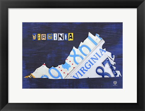 Framed Virginia License Plate Map I Print
