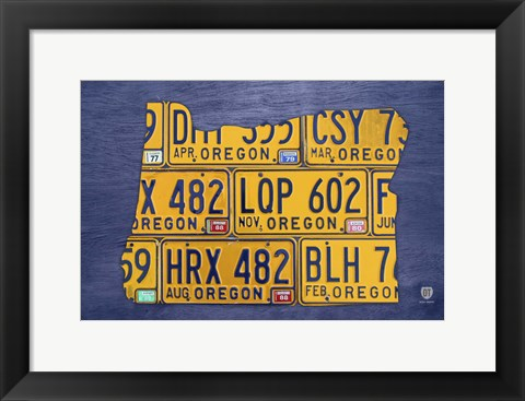 Framed Oregon License Plate Map Print
