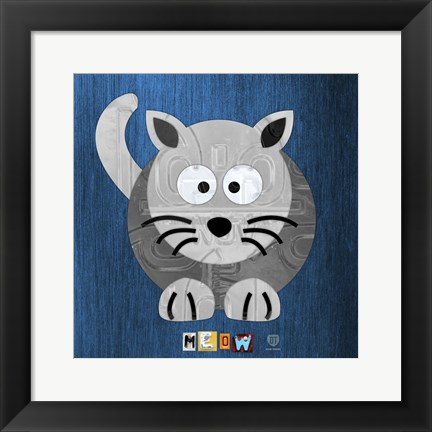 Framed Meow The Cat Print