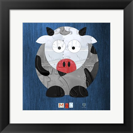 Framed Moo The Cow Print