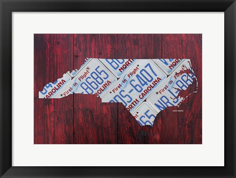 Framed North Carolina License Plate Map Print