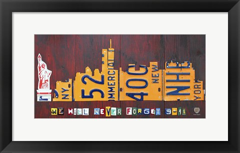 Framed NYC License Plate Art Skyline 911 Version Print
