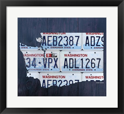 Framed Washington License Plate Map Print