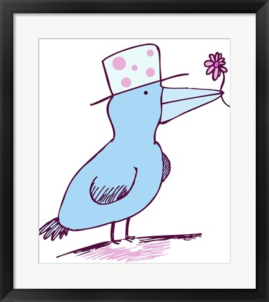Framed Flower Bird Print