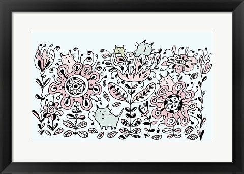 Framed Flower Cats Print