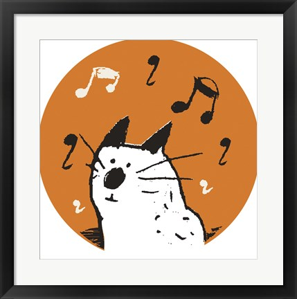 Framed Orange Music Cat Print