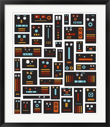 Framed Crazy Robot Friends Print