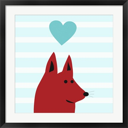 Framed Happy Red Dog Love Print