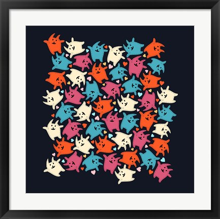 Framed Tiny Tumbling Kittens Print