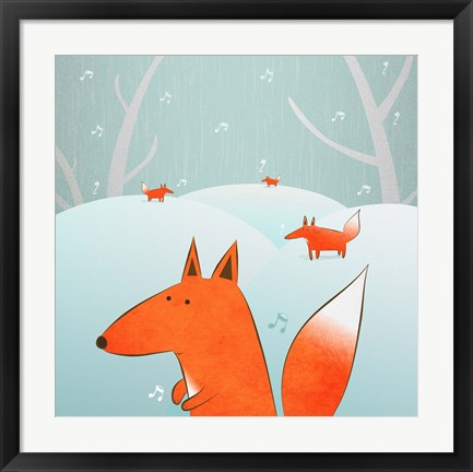 Framed Winter Foxes Print