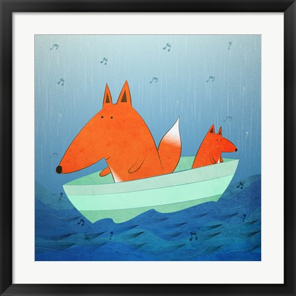 Framed Fox In A Boat Print