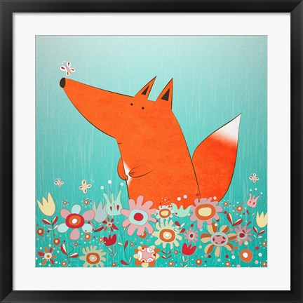 Framed Fox In Flowers Print
