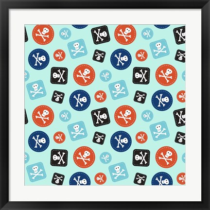 Framed Pirate Badge Pattern Blue Print