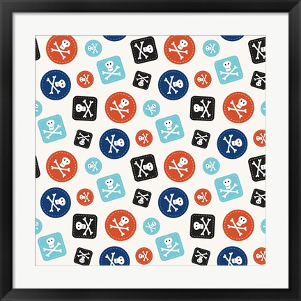 Framed Pirate Badge Pattern Cream Print