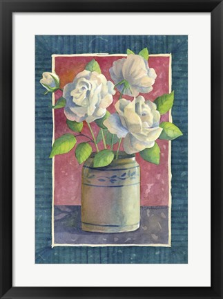 Framed White Roses Print
