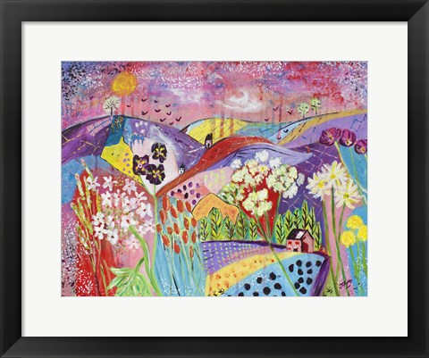 Framed Patchwork Of Love Print