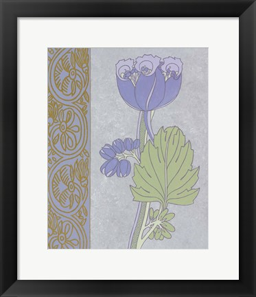 Framed Blue Tulip With Left Border Print