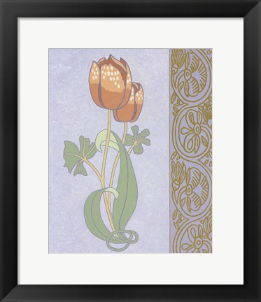 Framed Rose Tulip With Right Border Print