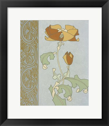 Framed Tan Tulip With Left Border Print