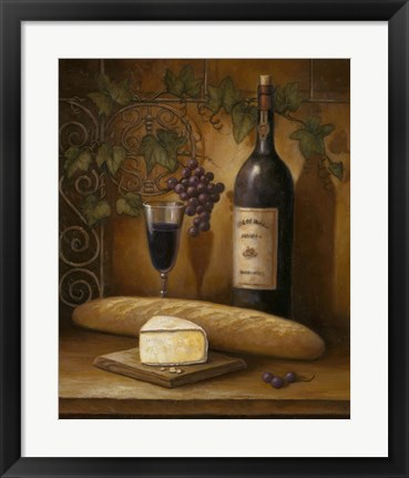 Framed Wine And Cheese B Print