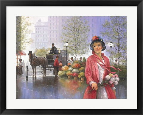 Framed Central Park Flower Market Print