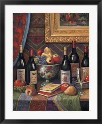 Framed Wine And Floral II Print