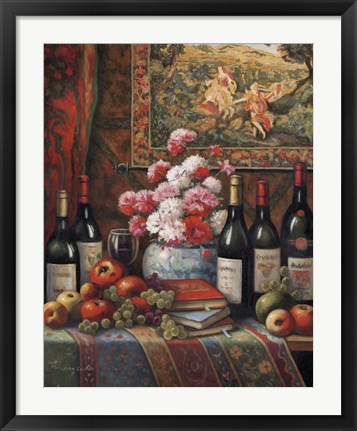 Framed Wine And Floral IV Print