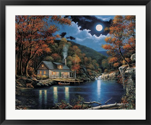 Framed Cabin By The Lake Print